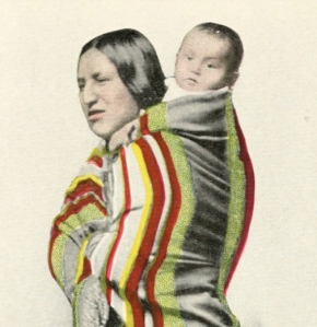 This is both a photograph of a real, unnamed mother and baby, and a picture of a fictional character named Shinkah. Frontispiece to Shinkah, The Osage Indian (1916).